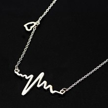 New Fashion Style Electrocardiogram Heart Beat Necklace Gift for Doctor Nurse Firefighter Paramedic Medical Gifts(China)