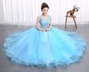 Image 5 - Princess Blue New Wedding Dress 2020 Doubl Shoulders for Party Chorus host Fleabane Bitter Stage Studio Photo