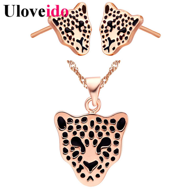 Fashion Leopard Jewelry Set Rose Gold Color Necklaces Jewelry Sets Gifts for Women Earrings Anime Bijouterie Sets Uloveido T308