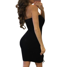 Strapless Lace Up Bodycon Plus Size Tranny Dress
