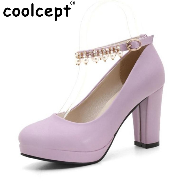 a567418ccbf Ladies High Heels Shoes Women Thick Heeled Pumps Ankle Strap Rhinestone  Platform Women Shoes Fashion Pearl Footwear Size 32-43