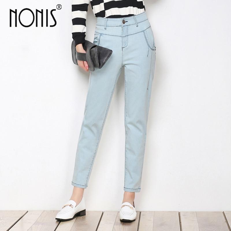 Nonis Harem jeans pants for women 2017 plus size 26-33 female denim jeans trousers white blue femme pantalon high waist harem pants for women plus size cotton 96