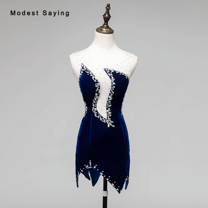 Настоящее Сексуальная Платья для вечеринок прозрачный алмаз горный хрусталь бисером мини бархат Коктейльные платья 2018 синий короткий велю