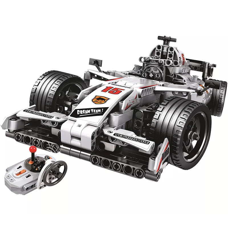 MOC F1 voiture de course télécommande 2.4 GHz technique avec moteur 729 pièces blocs de construction briques Legoing créateur jouets cadeaux pour enfants
