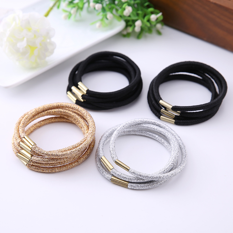 10PCS/Lot Girls Gold Silver Hairband Scrunchie Ponytail Holder Hair Ropes Hair Accessories Girl Elastic Hair Rubber Rope Holder