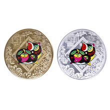 Chinese ZodiacCollectibles Series Pig Silver plated Commemorative Coin Birthday Gift Tai Chi Metal Challenge Silver Coins(China)