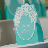 50pcs/lot Tiffany Wedding Party Decoration Favor Candy Box Bride Baptism Favor Gifts Baby Shower Sweet Love Paper Boxes CB002