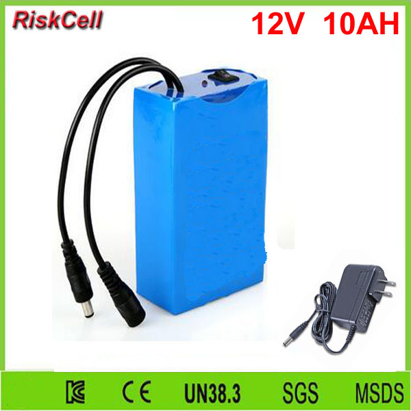 30pcs/lot (OEM)lithium ion battery pack 12v 10Ah for LED panel/strip/lights/Router/IP camera with charger