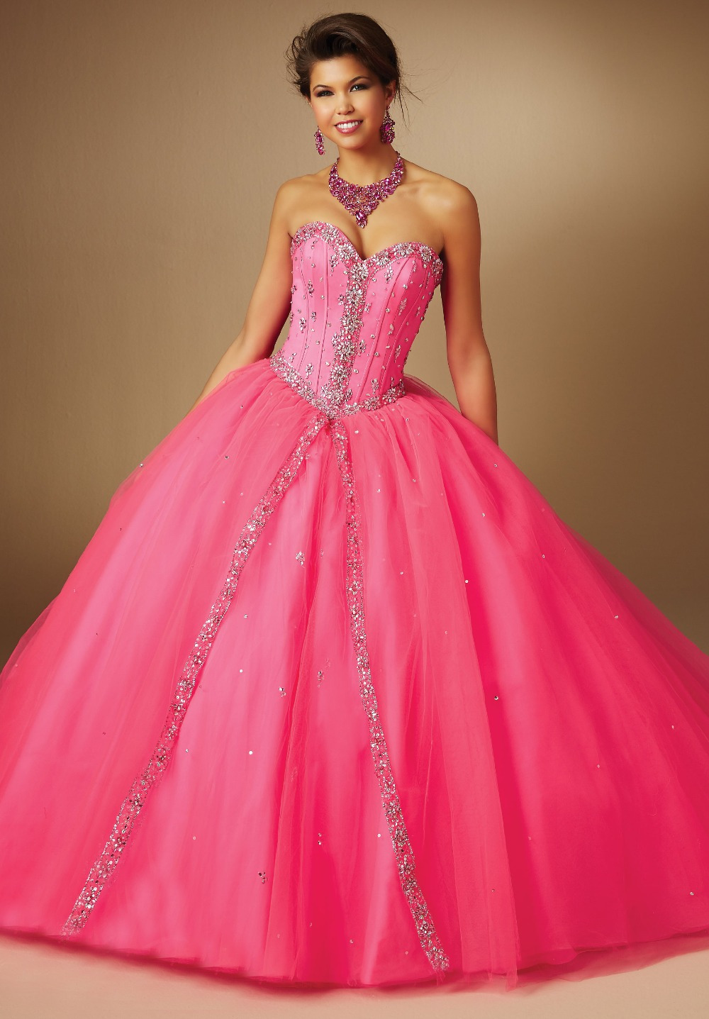 Hot Pink Strapless Beaded Ball Gown Puffy Long Prom Dress Tulle-in ...