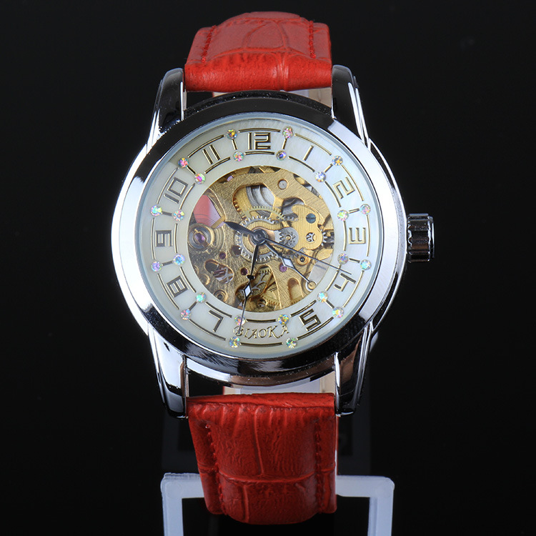 2017 New Arrival Fashion Classic women red Leather Dial Skeleton Mechanical Skeleton Wrist Watches Ladies Top Brand Watches