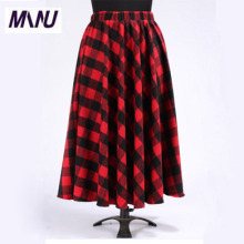 Autumn Winter Customize Size Women Plaid Casual Red And Black A Line Pleated Maxi Tartan Skirt