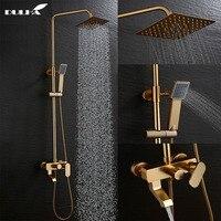 LUXURY Golden Color Bathroom Douche Shower System Set Big Rain Faucet Mixer Cold&Hot Mixing Valve Shower Head Hand Sprayer