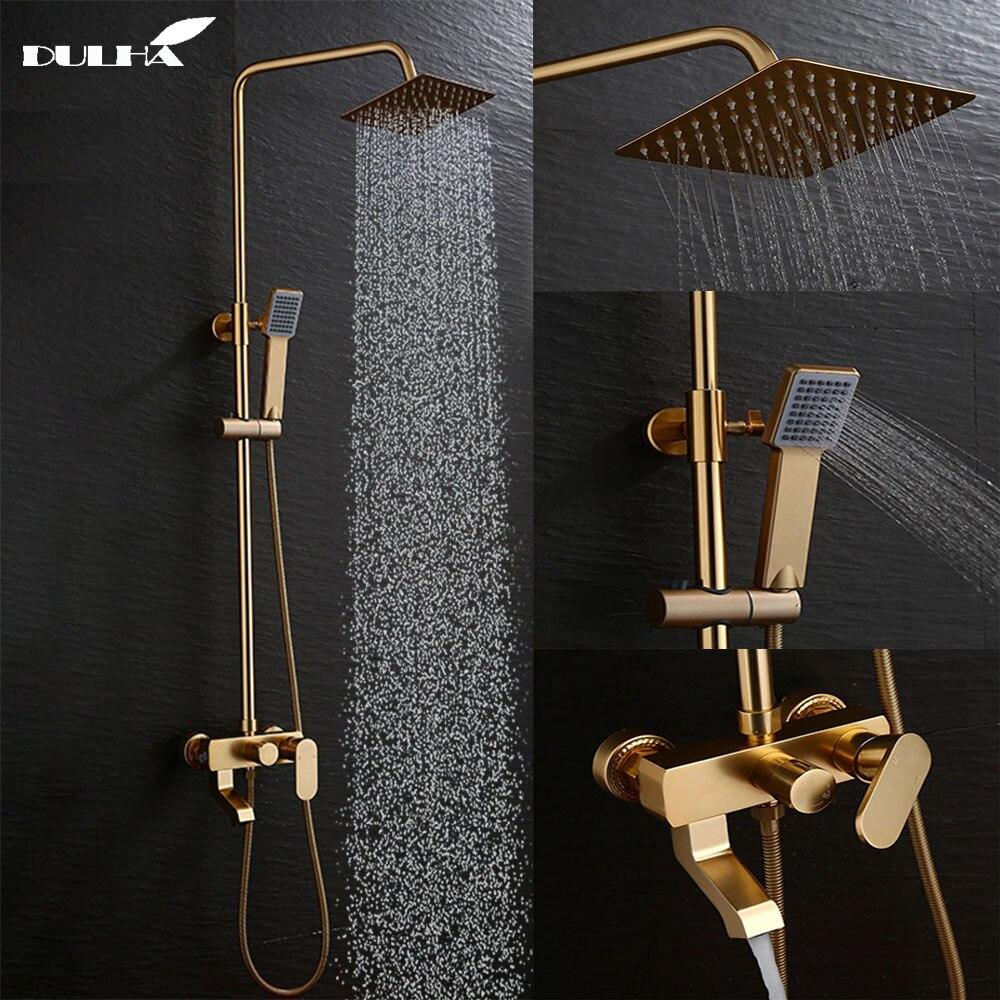 Système de Douche de salle de bains de couleur dorée de luxe ensemble grand robinet de pluie mélangeur mélangeur froid et chaud pomme de Douche pulvérisateur à main