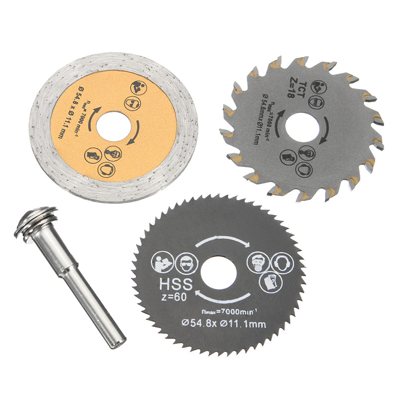 New 3pcs HSS 54.8mm Wood Circular Saw Blades With Mandrel Rotary Cutting Tool For Mini Drill Tools Wood