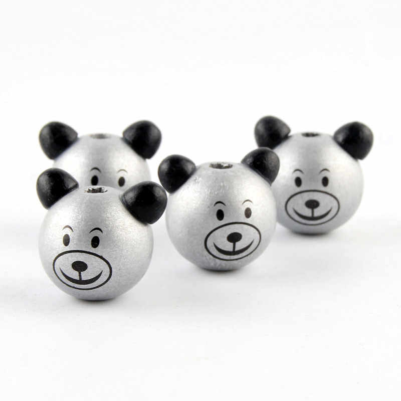 Серебряный цвет очаровательный деревянный 3D Медведь 5 шт улыбающиеся бусины для самостоятельного изготовления ювелирных изделий зубное кольцо для прорезывающихся зубов