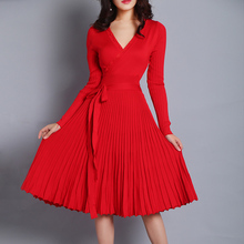 Ky&Q Spring Women Sexy Deep V Neck Red Pleated Dresses 2018 Long Sleeve Belts Knitted Dresses Elegant Women Slim Party Vestidos