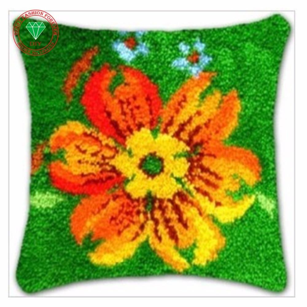 Latch hook rug kits flowers needlework pillowcase cross