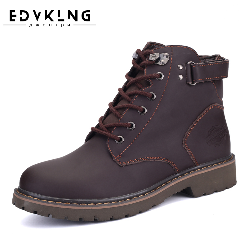 EDVKLN Brand Men Winter Boots Size 35~44 Warmest Genuine Leather Russian style Men Snow Boots Cow Split Leather Men Tooling Boot warmest genuine leather snow boots size 37 50 brand russian style men winter shoes 8815