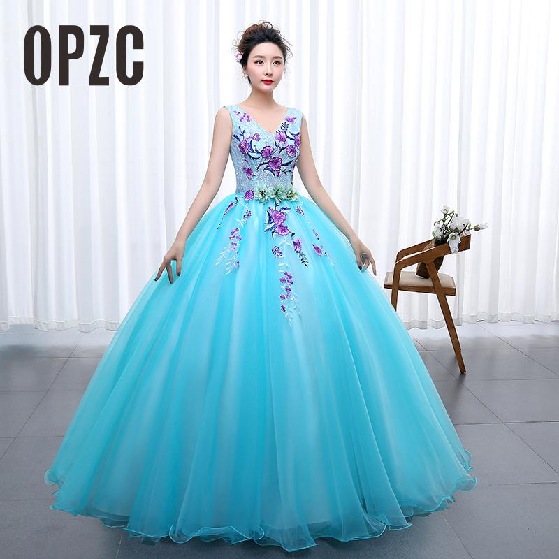 OPZC Color yarn Princess Blue New Wedding Dress 2020 Sexy V Neck 