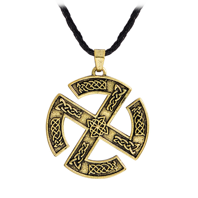 Viking Warrior Slavic Pagan Sun Wheel Pendant Necklace Antique silver Bronze Amulet Necklace Weave Chain Jewelry Gift For Men