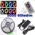 Bande 5050 rgb waterproof led strip 5m 300 leds ruban tiras iluminacion 12V +44 key controller+power adapter CE&ROH by DHL 30set