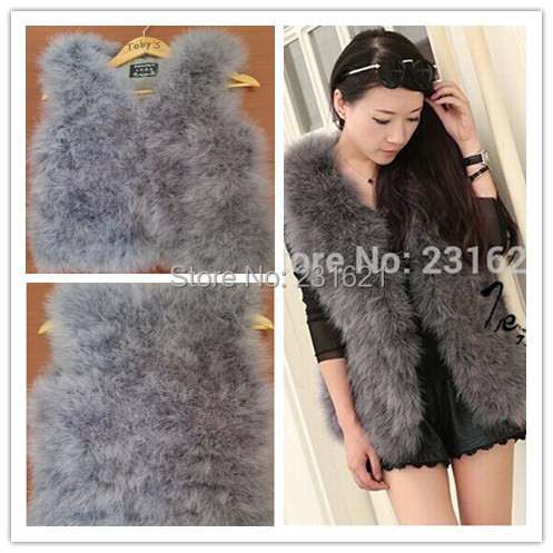 2014 Autumn And Winter Women S Cotton Feather Vest Medium Long Ostrich Fur Turkey Fur Vest