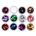 Fashion Nail Glitter Powder 12Colors Nail Art Decoration Rhombus Paillette Glitter Nail Tool