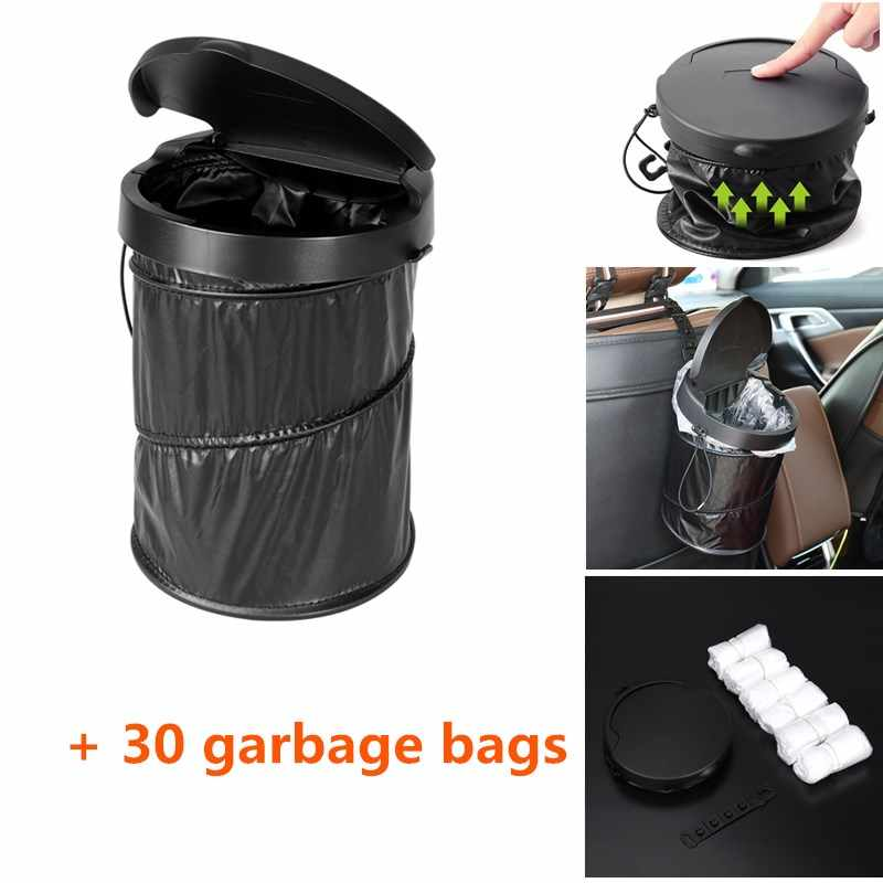 Portable Car Trash Can Waterproof Collapsible Pop Up Trash Bin Garbage Container With Lid With 30pcs White Garbage Bags Storage Car Trash Aliexpress