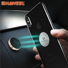 лучшая цена HAWEEL Universal Mini Car Phone Mount Aluminum Stick on Flat Magnet Key Holder Support Stand For iPhone and other Android Phone