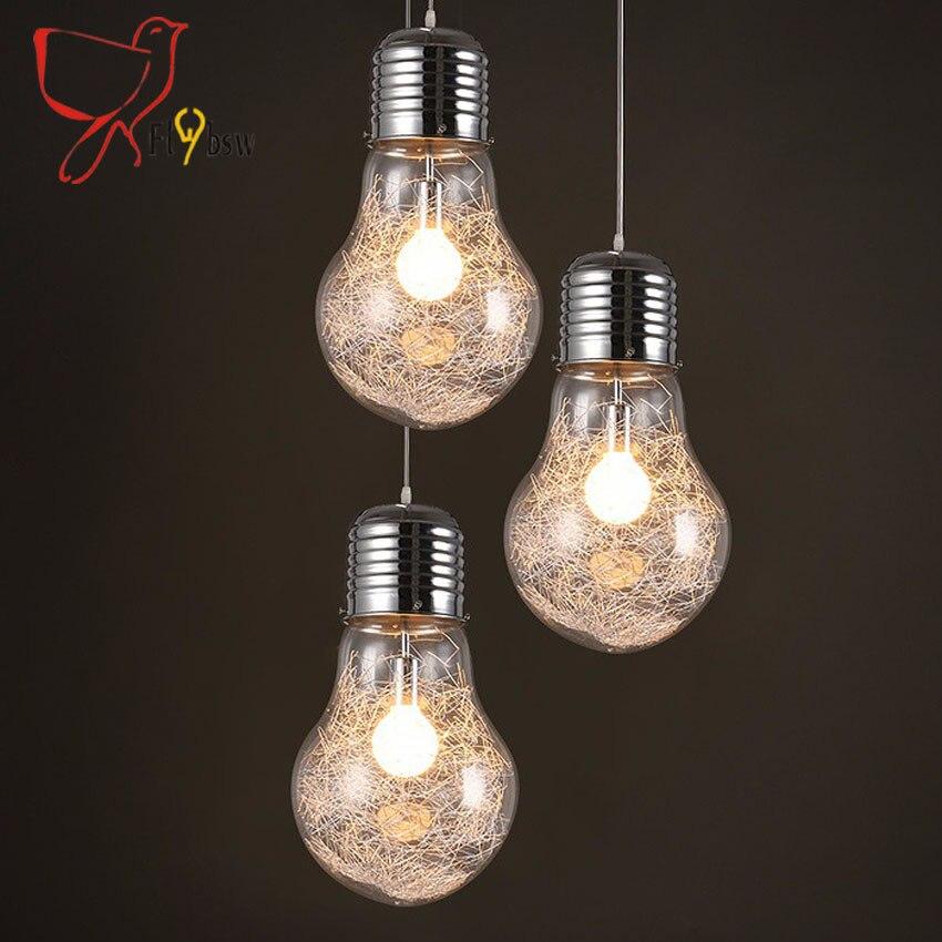 Modern simple creative pendant lamp 3 size large bulb shape glass shade lampe suspendu lighting fixtures