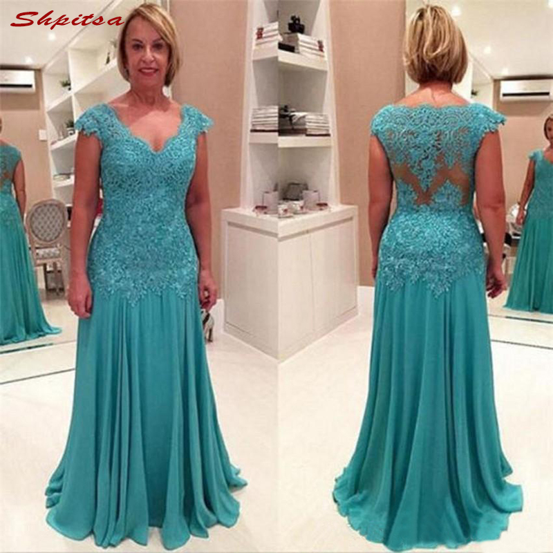 Plus Size Lace Mother Of The Bride Dresses For Weddings A Line Prom Evening Groom Godmother Dresses
