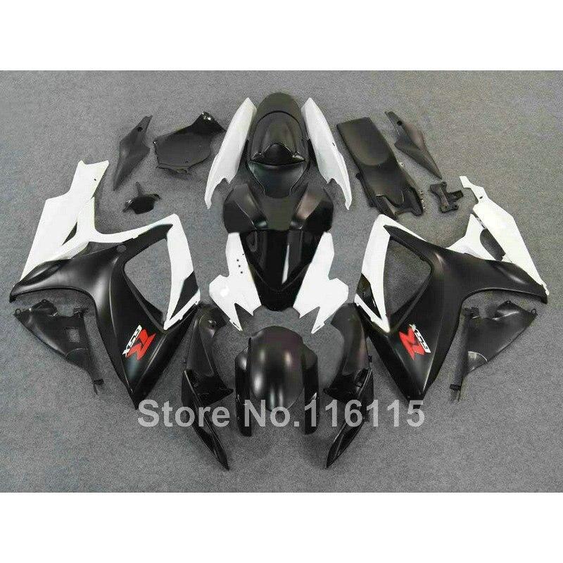 Kit completo carenatura per SUZUKI GSXR 600 750 K6 di stampi Ad Iniezione K7 2006 2007 bianco nero carene GSXR600 GSXR750 06 07 Q550