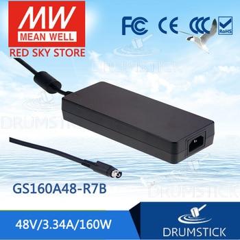 Steady MEAN WELL GST160A48-R7B 48V 3.34A meanwell GST160A 160W AC-DC Industrial Adaptor 3 plug energy-saving Replace GS