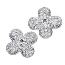 Jóias Na Moda Hot Mulheres Encantos Flor Micro Pave Zircon Clover Planta Beads Para Colar Pulseira DIY Acessórios Da Jóia CHF155