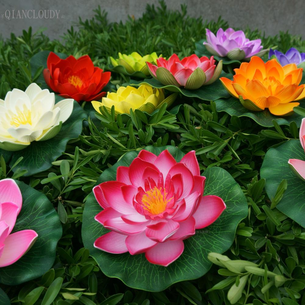 Aliexpress buy retail artificial fake eva lotus flowers leaf aliexpress buy retail artificial fake eva lotus flowers leaf water lily floating pool plants pond flowers home garden wedding decoration b83 from mightylinksfo