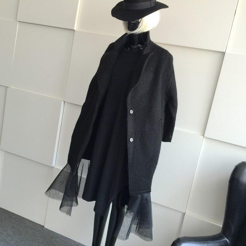 Cachemire Mode D'hiver De Design Long Outwear Asymsay Ourlet Femmes Européenne Veste Brand Manteau Style 2017 Black Ac2096 Chaud 6Yb7gIvfy