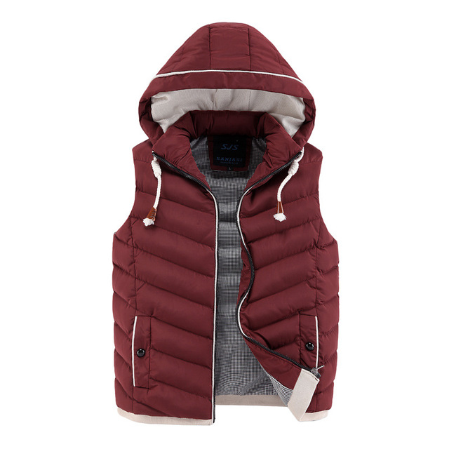 2016 Men Winter Vest Brand New Fashion Men's Jacket Casual Coat Cotton Winter vest men Outdoors Warm Fashion Waistcoat Y0906-96E