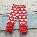 Новый день святого валентина Осень/зима новорожденных девочек полная длина красный любовь сердце печати одежда обледенения брюки хлопчатобумажные дети одежда оборками продать