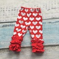 new Valentine's day Fall/winter baby girls full length red love heart print clothing icing pants cotton kids wear ruffles sell