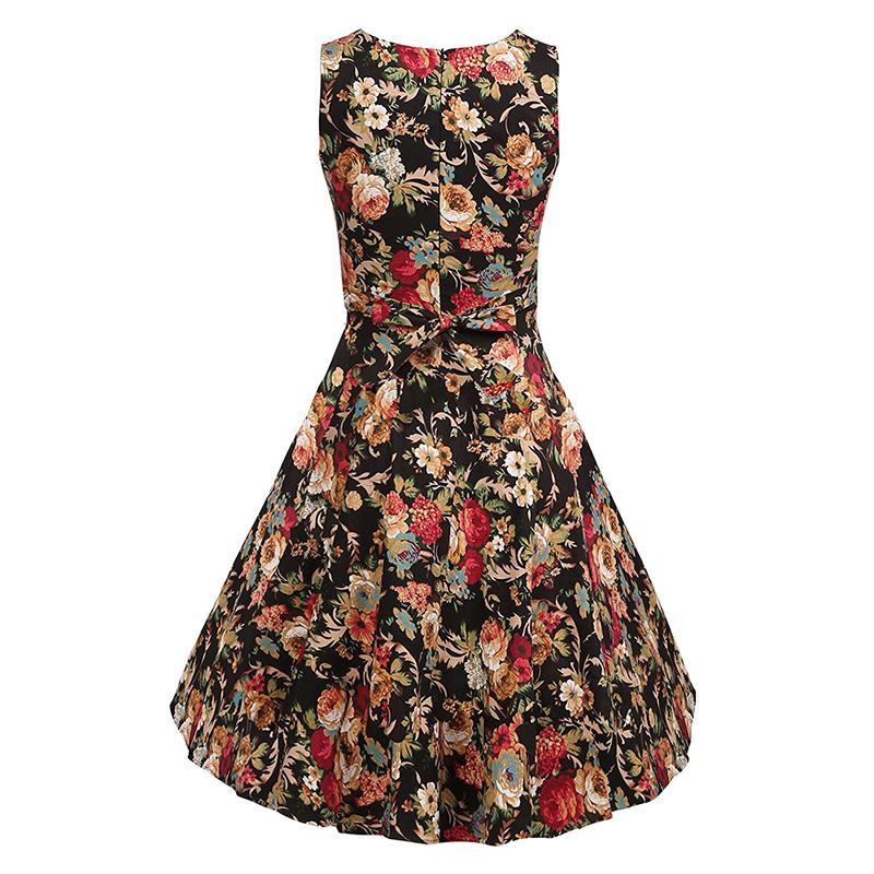 Kostlish Cotton Summer Dress Women 2017 Sleeveless Tunic 50s Vintage Dress Belt Elegant Print Rockabilly Party Dresses Sundress (35)