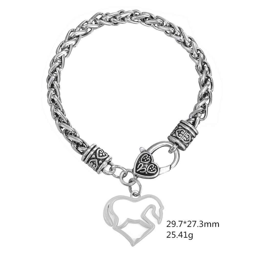 Skyrim Mode Hohl Charme Armbänder Retro Schmuck Weizen Kette Armband Herz Pferd Tier Anhänger Mit Dicken Link Kette