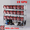 19 GPU Silver Black Mining Frame With With 18 Fans Aluminum Stackable Mining Frame For Ethereum