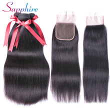 hot deal buy sapphire straight hair bundles with closure brazilian hair weave bundles with closure non-remy human hair bundles with closure