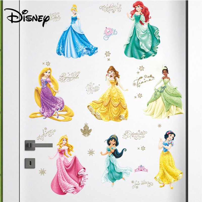 ديزني ملصقا الأطفال غرفة حائط الخلفية لاصقة تزيين الأميرة غرفة المعيشة غرفة ملصقا