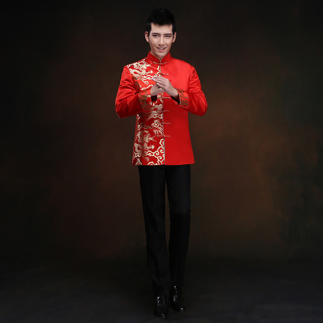 2016 New Red Long-sleeved Groom Toast Clothing Chinese Men's Costume Improved Male Tang Suit Wedding  Traditional Gown Dress