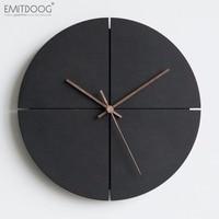 EMITDOOG 12inch Retro Wooden Wall Clock Farmhouse Decor, Black Non Ticking Wall Clocks Large Decorative Quartz Battery Operated