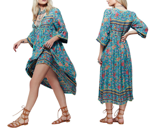 CA Mode Boho Gypsy Mexican Ethnic Floral Womens Evening Party Mid-calf Length Dress
