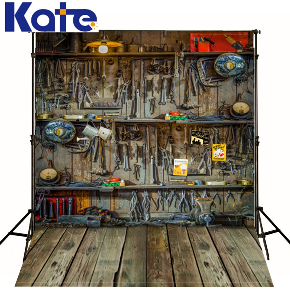 5X7Ft(150X220Cm)Kate Retro Wood Floor  Baby Background For Photo Studio Repair Shop Mechanic Repair Tools Thick Cloth Background сумка kate spade new york wkru2816 kate spade hanna