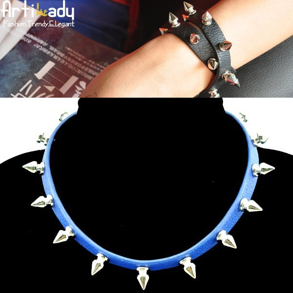 holiday sale Artilady Fashion Bright  Choker Collar  Spike  Necklace Jewelry  2 Color  Free Shipping  VS12091911