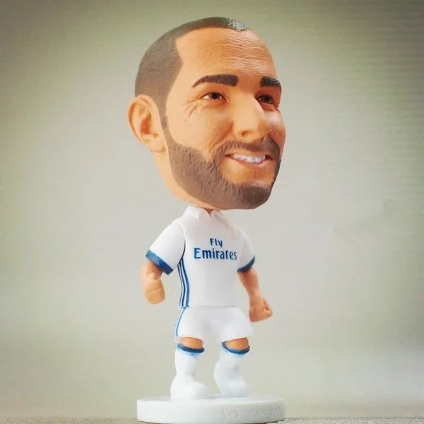 2016-17 Series 6.5*3.5 cm Resin Soccer Star 9 Karim Benzema Doll White (RM) France